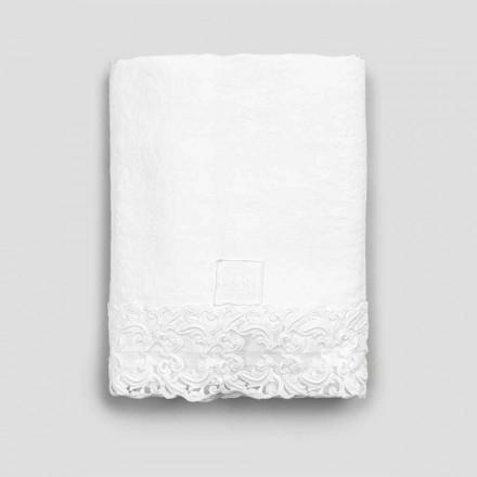 Cearceaf plat din in alb cu dantelă pentru pat dublu de înaltă calitate - Fiumana