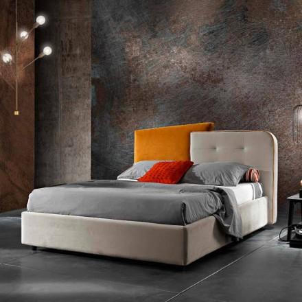 Pat dublu cu design modern în catifea gri și portocalie - Plorifon