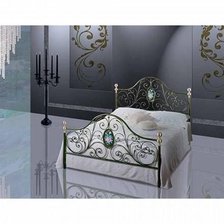 Un pat și jumătate pătrat de fier forjat Turcoaz