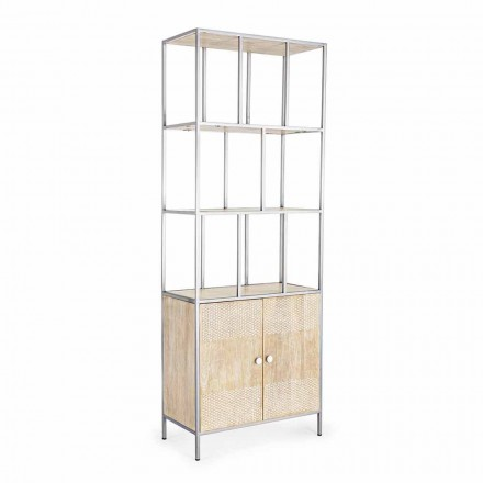 Bibliotecă de podea cu structură din oțel cromat și lemn Homemotion - Madiz