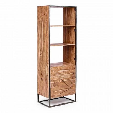 Bibliotecă de podea cu structură din lemn de salcâm și oțel Homemotion - Golia