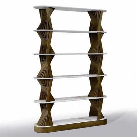 Raft de podea de lux din lemn cu blaturi din gresie Made in Italy - Aspide