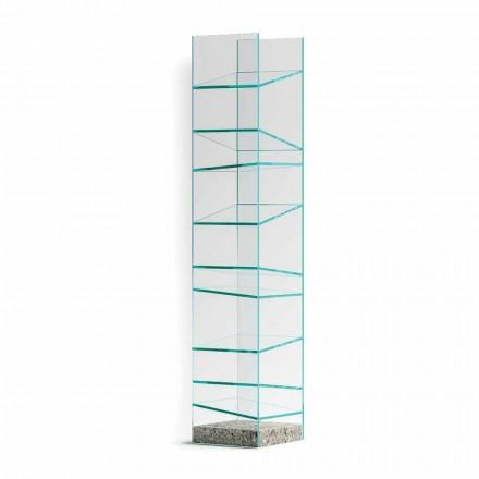 Raft de podea design din sticlă cu bază din oțel Fabricat în Italia - Biba