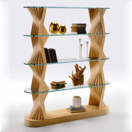Bibliotecă de podea de lux din sticlă și lemn de frasin Made in Italy - Aspide