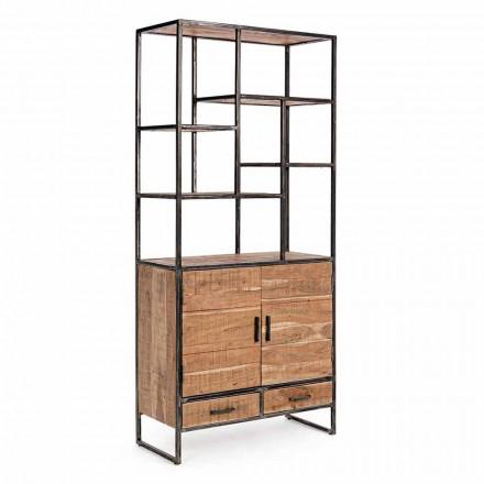 Bibliotecă pentru podea Homemotion din oțel vopsit cu rafturi din lemn - Zompo