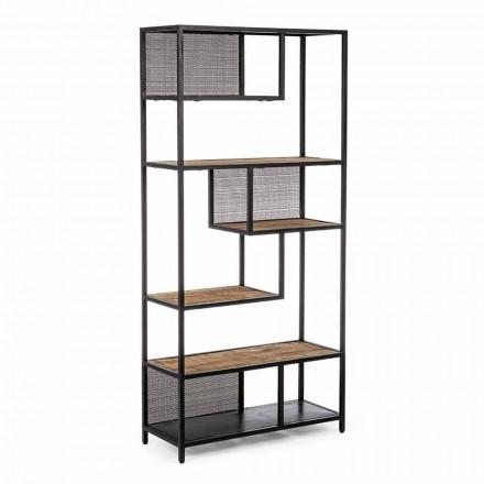 Bibliotecă pentru podea Homemotion din oțel vopsit cu rafturi din lemn - Borino