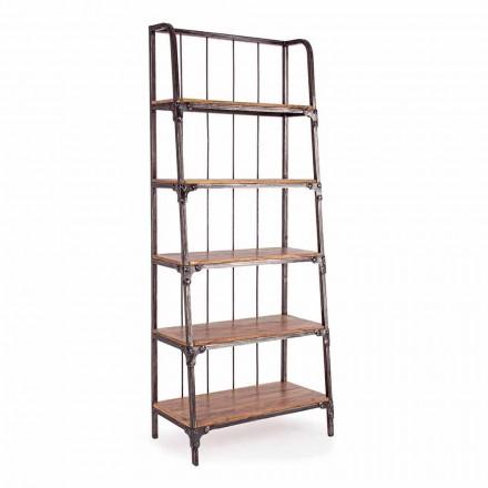 Bibliotecă pentru podea Homemotion din oțel vopsit cu rafturi din lemn - Molina