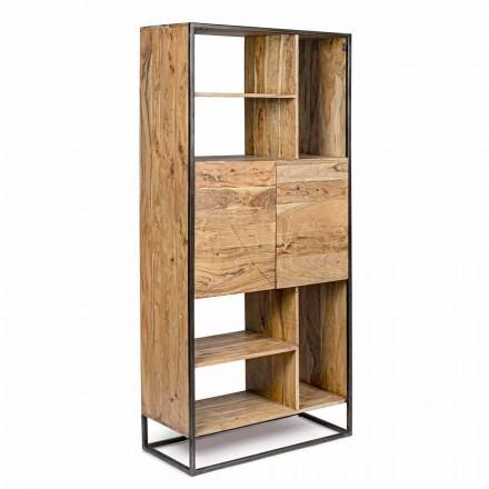 Homemotion - Bibliotecă Goliath Floor din lemn de salcâm și oțel vopsit