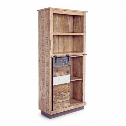 Bibliotecă pentru podea Homemotion din lemn de mango cu inserții din oțel - Vidia