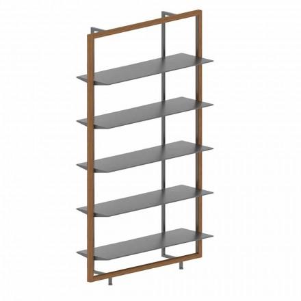 Bibliotecă de podea din metal, aluminiu și lemn Made in Italy - Bonaldo Aliante