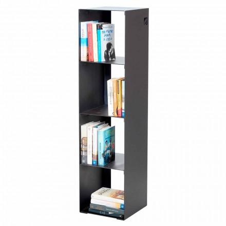 Bibliotecă modernă pentru pardoseală din fier negru, roșu, alb, gri, făcută în Italia - Cauro