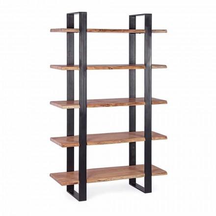 Bibliotecă pentru podea modernă din oțel Homemotion cu rafturi din lemn - Lanza