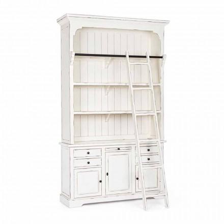 Bibliotecă din lemn de design clasic cu scară decorativă Homemotion - Cedru