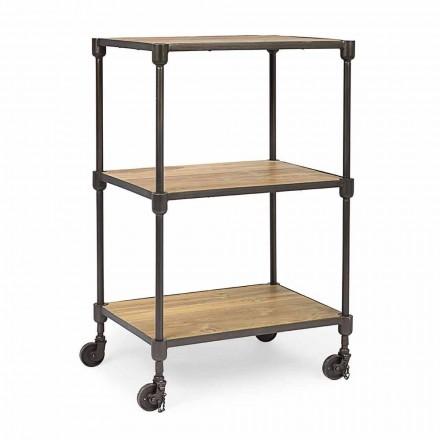 Bibliotecă din oțel vopsit cu roți și rafturi în Teak Homemotion - Fulvia