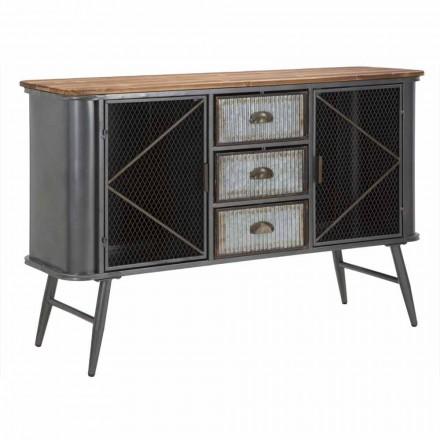 Buffet vintage de design industrial în fier și lemn - Akimi