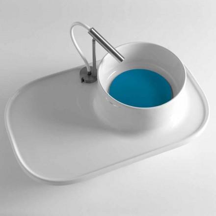 Raft cu lavoar integrat din ceramică alb lucioasă Fabricat în Italia - Uber