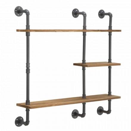 Rafturi de perete în stil industrial și modern din fier și lemn - Katrine