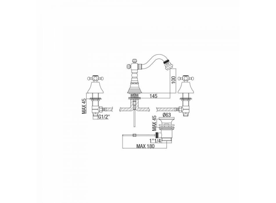 Baterie bidet cu 3 găuri din alamă Design clasic Fabricat în Italia - Lisca