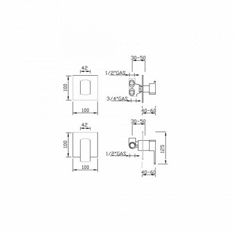 Baterie de duș cu deviator cu 5 căi Made in Italy - Sika