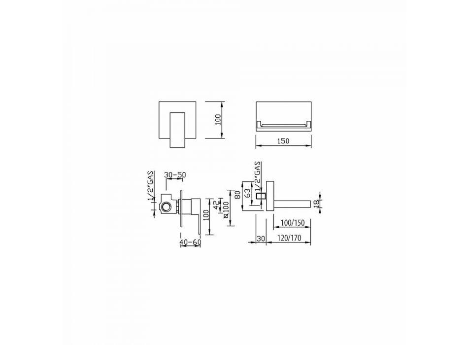 Baterie modernă de lavoar cu perete cu cascadă Made in Italy - Bibo