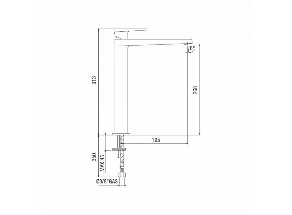 Baterie de lavoar pentru baie extinsă H 268 mm Fără scurgere Made in Italy - Galla