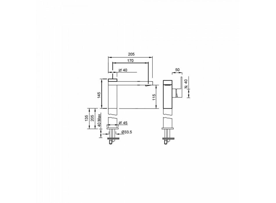 Baterie de lavoar cu baie lungă din alamă, fabricată în Italia - Panela