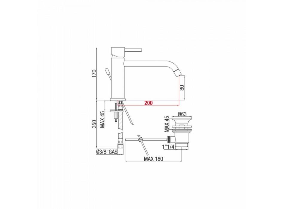 Baterie de lavoar cu gura de 200 mm Distanta centrala din alama Made in Italy - Liro