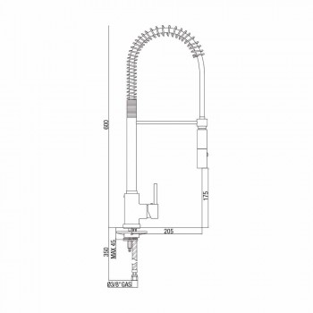 Baterie de lavoar de bucătărie din alamă reglabilă cu arc Made in Italy - Keope