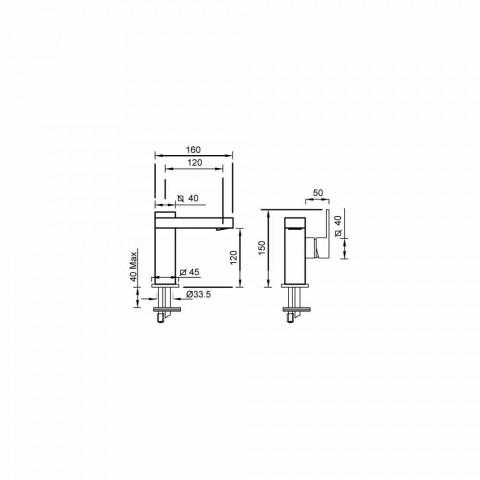 Baterie de lavoar cu manetă laterală fără scurgere din alamă Fabricat în Italia - Panela