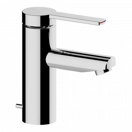 Baterie de lavoar pentru baie în finisaj de alamă cromată, design fin - Zanio