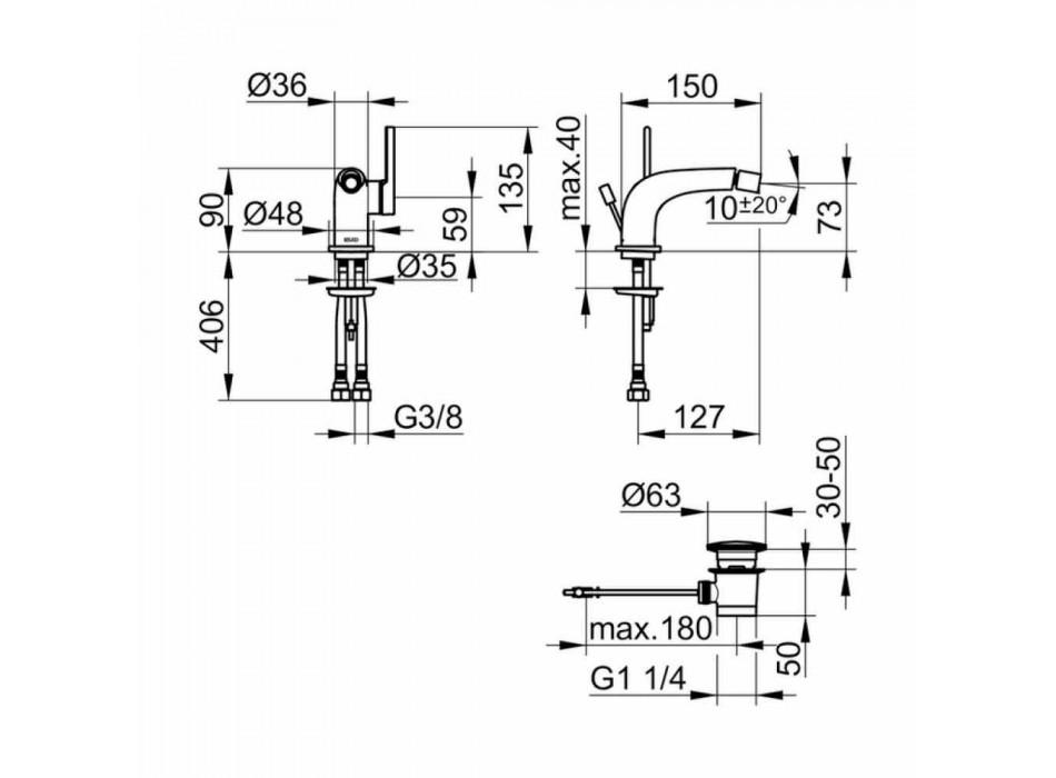 Mixer modern cu o singură pârghie cu scurgere de bidet din metal - Pinto