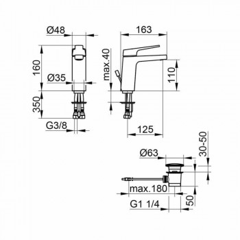 Baterie modernă pentru chiuvetă monocomandă pentru baie din metal cromat - Clari