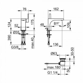 Baterie modernă monocomandă pentru chiuvetă cu canal de scurgere din metal - Etto