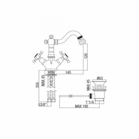 Baterie clasică cu o singură gaură pentru bidet din alamă Fabricat în Italia - Lisca