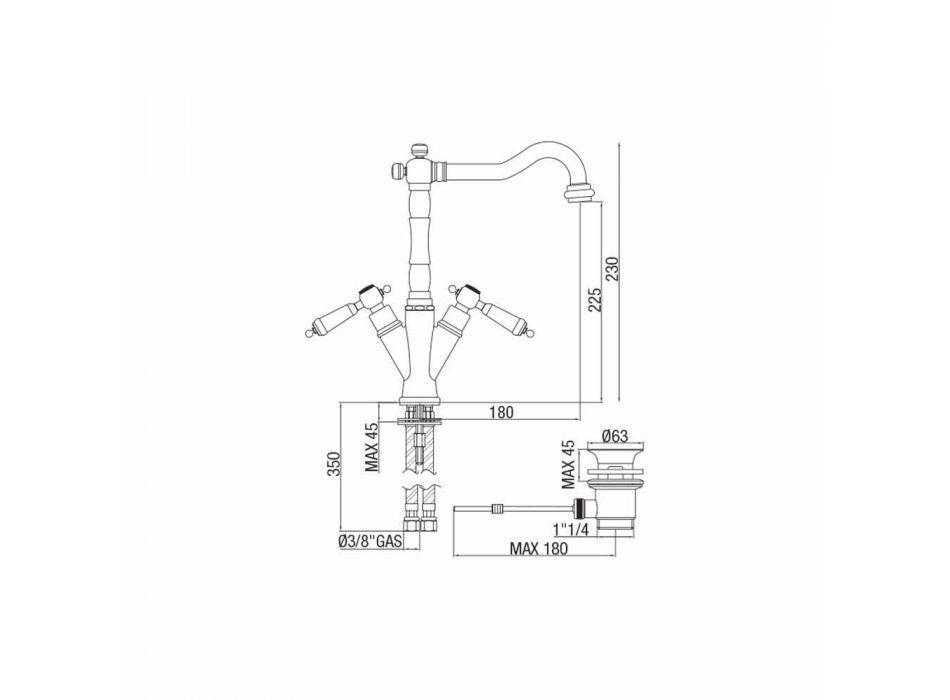Baterie cu un singur orificiu pentru lavoar clasic din alamă Fabricat în Italia - Shelly