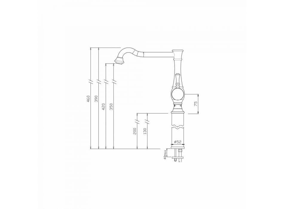 Baterie lavoar pentru baie, cu butoi înalt, extensie de 13 cm Fabricat în Italia - Neno
