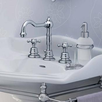 Baterie modernă pentru chiuvetă de baie cu trei găuri din alamă, fabricată în Italia - Binsu