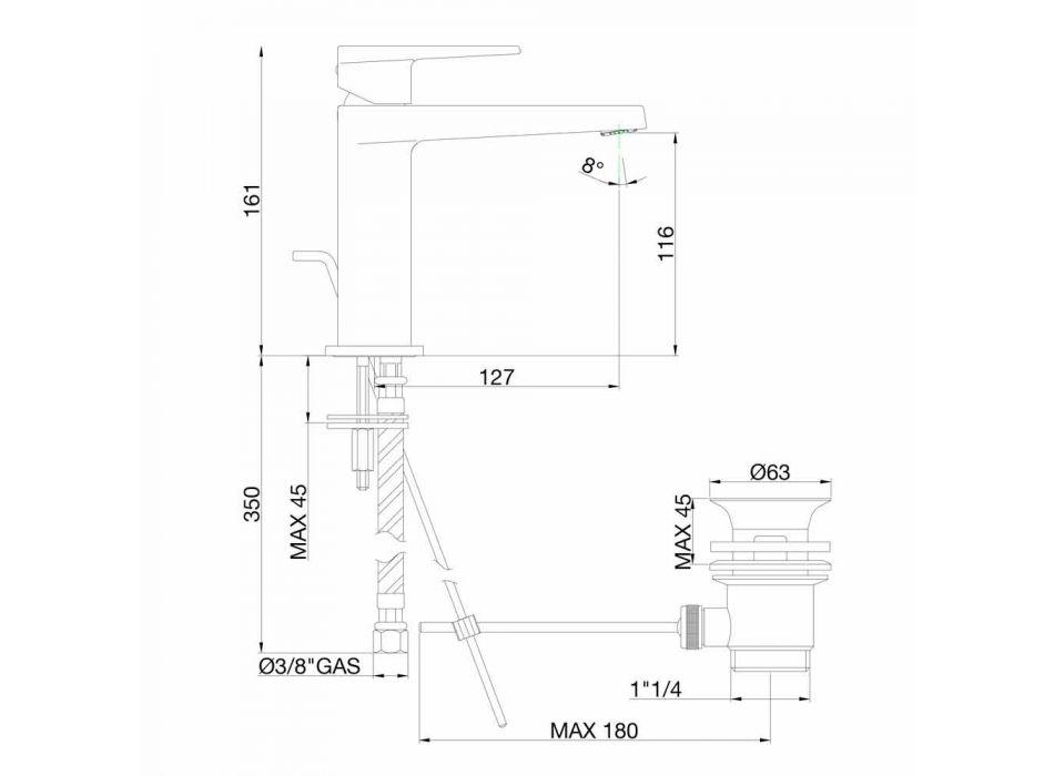 Baterie de lavoar pentru baie cu scurgere în finisaj crom Fabricat în Italia - Galla