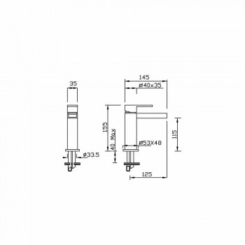 Baterie lavoar design fără scurgere Made in Italy - Bibo