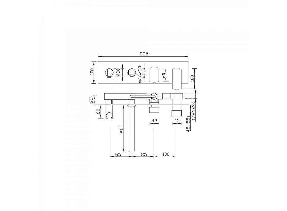 Baterie de baie încorporată de design modern din alamă Fabricat în Italia - Sika