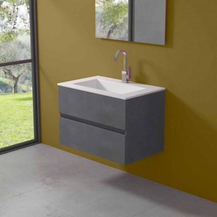 Dulap suspendat pentru baie cu chiuvetă integrată în 3 dimensiuni - Marione