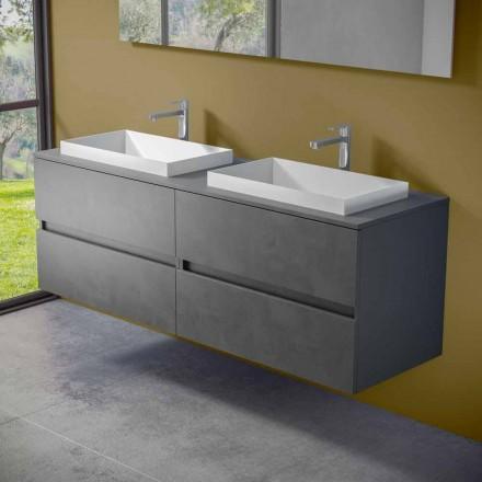 Mobilier de baie suspendat cu chiuvetă dublă încorporată, design modern - Dumbo