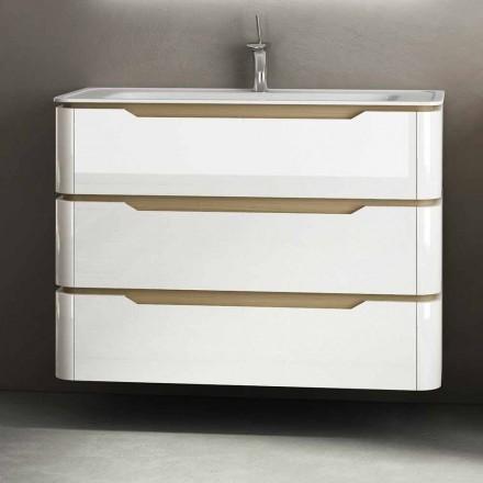 Dulap de baie cu 3 sertare din lemn modern Arya, fabricat în Italia
