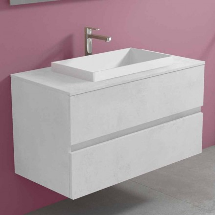 Dulap suspendat pentru baie cu chiuvetă încorporată, design modern - Casimira
