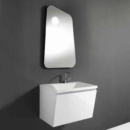 Dulap de baie cu chiuvetă și oglindă design din lemn și marmură minerală - Fausta