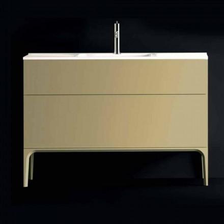 Dulap de baie cu chiuvetă din lemn lăcuit 120x85x46cm Amber, fabricat în Italia