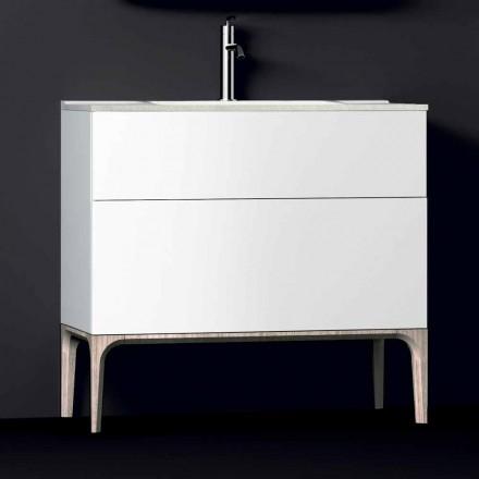Dulap de baie cu chiuveta modernă integrată Ambră, rășină și lemn lăcuit