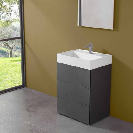 Dulap de baie cu pardoseală de design modern, laminat, cu chiuvetă din rășină - Pompei