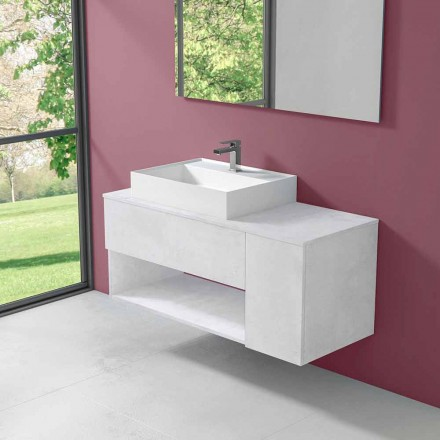 Dulap de baie cu design suspendat, cu chiuvetă de blat stil modern - Pistillo
