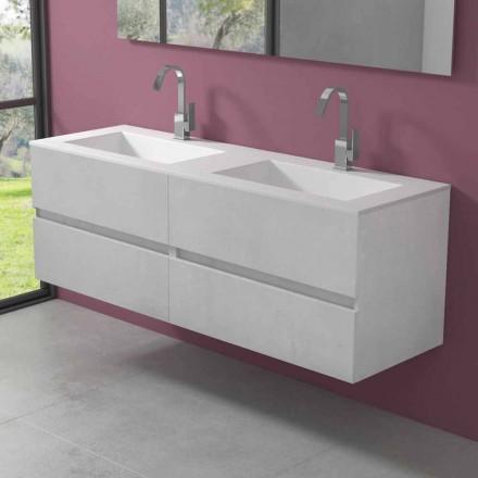 Dulap suspendat pentru baie cu chiuvetă dublă, design modern în 4 finisaje - Dublet